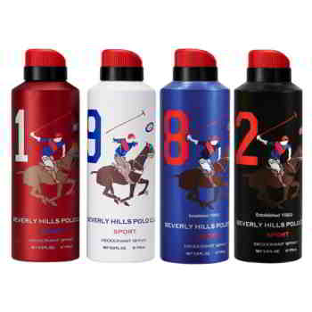 Beverly Hills Polo Club 1,9,8,2 Pack of 4 Sports Deodorants