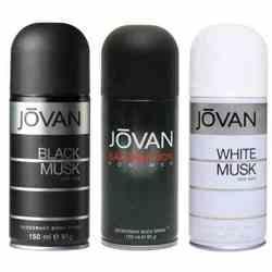 Jovan Black Musk, Satisfaction, White Musk Pack of 3 Deodorants