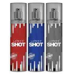 Layer'r Shot Deep Desire, Power Play, Red Stallion Pack of 3 Deodorants