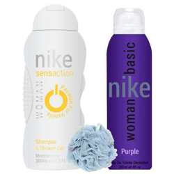 Nike Basic Purple, Passion For Vanilla - Deo, Shower Gel And Loofah Combo