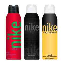 Nike Charcoal Grey Gold Red Pack of 3 Deodorants