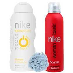 Nike Scarlet Red, Passion For Vanilla - Deo, Shower Gel And Loofah Combo