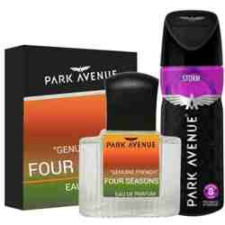 Park Avenue Combo of 4 Seasons Perfume, Storm Deodorant