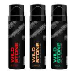Wild Stone Burst Charge And Wave Pack Of 3 No Gas Perfumed Deodorant Spray