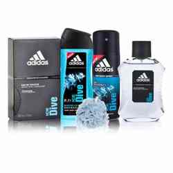 Adidas Ice Dive Perfume, Deodorant, Shower Gel And Loofah Combo Set