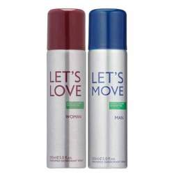 Benetton Lets Move (Man) And Lets Love (Woman) Pack Of 2 Deodorants