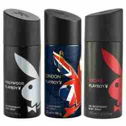 Playboy Hollywood, London, Vegas Pack of 3 Deodorants for men