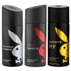 Playboy Hollywood, Vegas, VIP Pack of 3 Deodorants for men